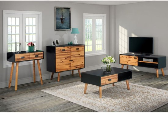 bol.com | vidaXL Woonkamer meubelset 4-delig massief acaciahout