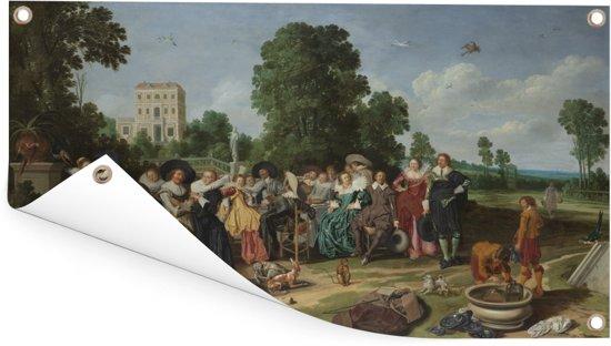 De buitenpartij - Kunstreproductie van Dirck Hals Tuinposter 80x40 cm - klein - Tuindoek / Buitencanvas / Schilderijen voor buiten (tuin decoratie)