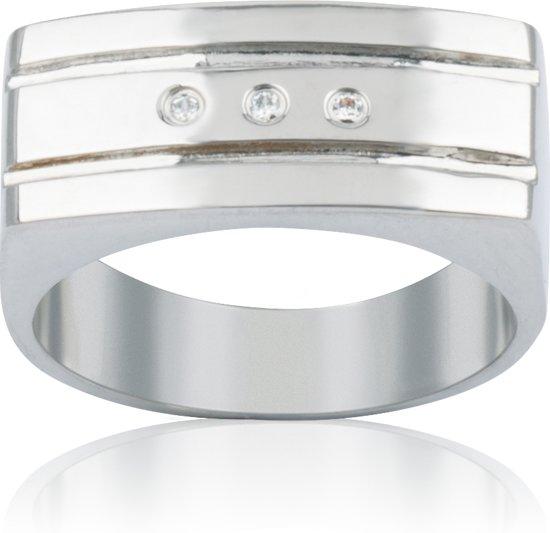 Slate - Stalen ring met steen Maat 62 - Met 3x zirkonia