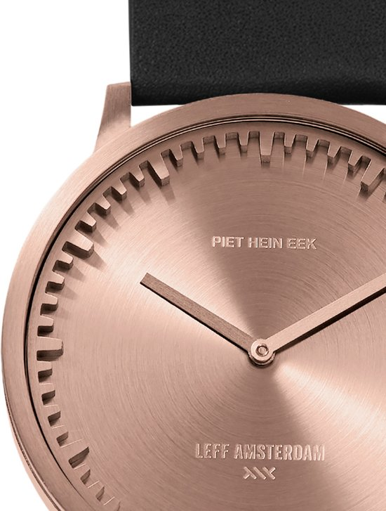 Tube watch T40 rose gold / black leather strap
