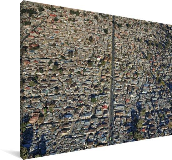 Het Alexandra township in Johannesburg Canvas 180x120 cm - Foto print op Canvas schilderij (Wanddecoratie woonkamer / slaapkamer) XXL / Groot formaat!