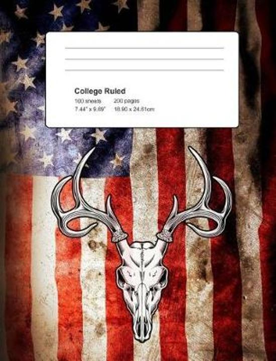 Deer USA Flag Composition Notebook Journal