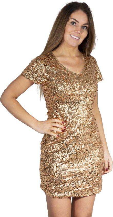 Pailletten jurkje goud L/XL
