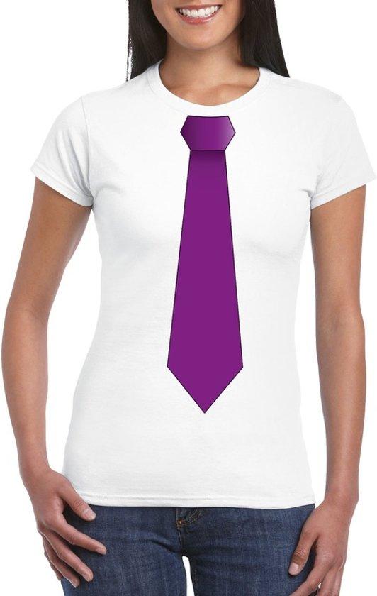 Wit t-shirt met paarse stropdas dames 2XL