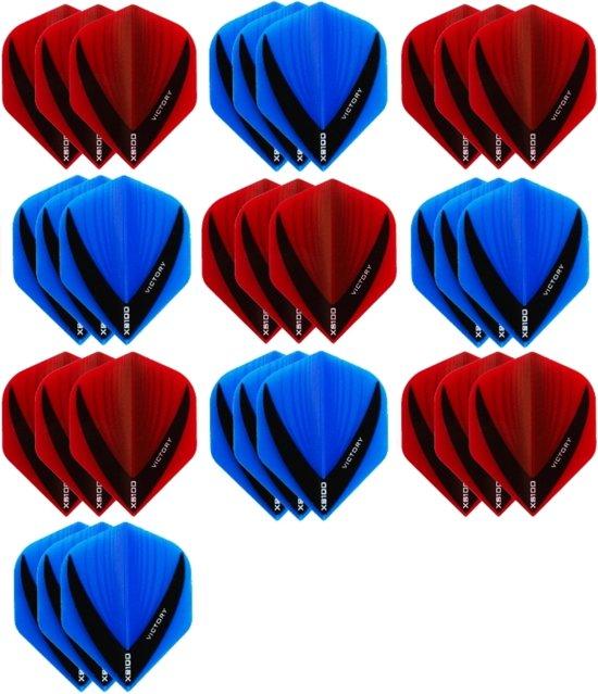 10 sets (30 stuks) - XS100 Vista flights - duo kleur pakket - Aqua/Blauw en Rood – flights - dartflights