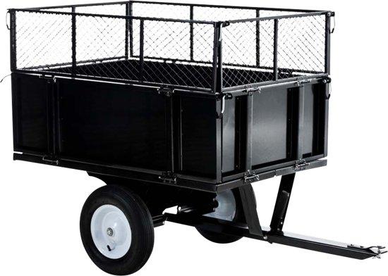 Clp Aanhanger voor zitmaaier, grasmaaier, gazontractor - kantelbaar, 1-assige kiepwagen tot 300 kg, universele aanhangerskoppeling, 30 cm extra roosterrand - zwart