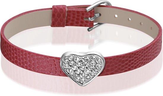 Montebello Armband Anass Rood - Dames - PU leer - Bedel - Hart - Zirkonia - 20.5 cm