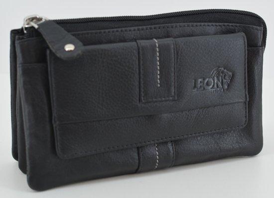 LeonDesign - W3012 - zwart - dames - portemonnee - voor mobiel - zacht - leer