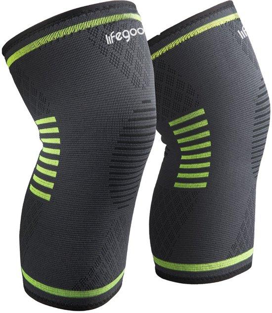 LifeGoods Compressie Knie Brace - Elastisch Bandage - Band - Strap - Sleeve - Kousen - Warmers - Blessures - Sport Ondersteuning - Knee Support - Vrouwen - Mannen - Maat: L - Set: 2 stuks - Zwart