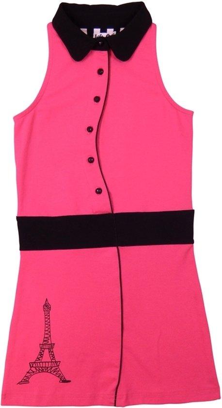 662143f9402a10 LoFff Z8101-03 Jurk Shirt Dress - Felroze/Zwart - Maat 146-152