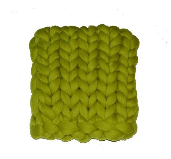 Wollen deken / woondeken / plaid XXL merino wol - lontwol 80 x 120 cm Lime