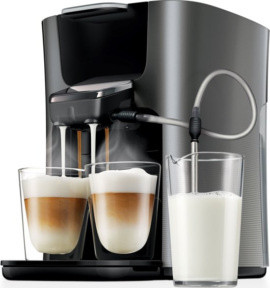 philips senseo latte duo hd7857 50 koffiepadapparaat titanium zwart. Black Bedroom Furniture Sets. Home Design Ideas