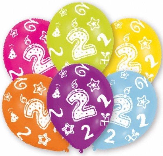 ballon 2 jaar bol.| 2 jaar leeftijd ballonnen 6 stuks   verjaardag  ballon 2 jaar
