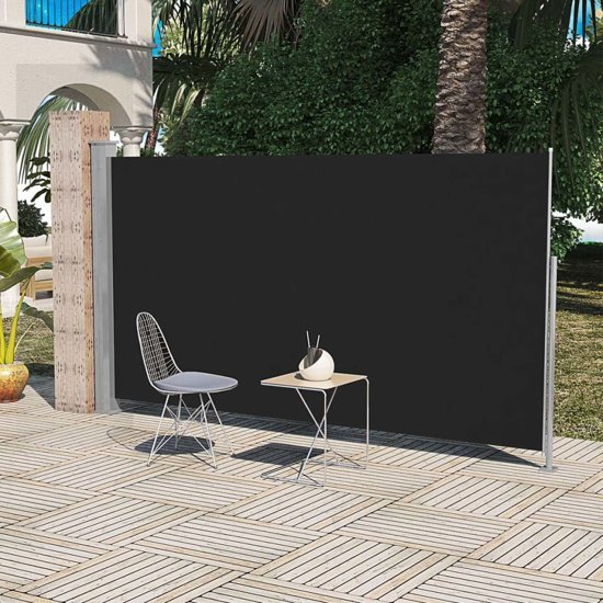 vidaXL - Zonnescherm Uittrekbaar wind- / zonnescherm 160 x 300 cm - zwart