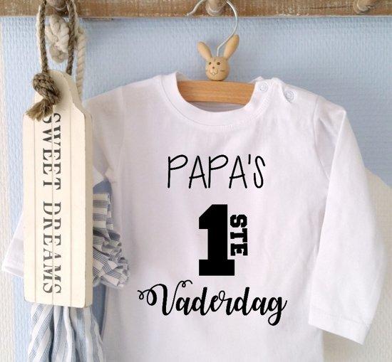 Shirtje Papas 1ste Eerste Vaderdag Lange Of Korte Mouw Wit Maat 56 110