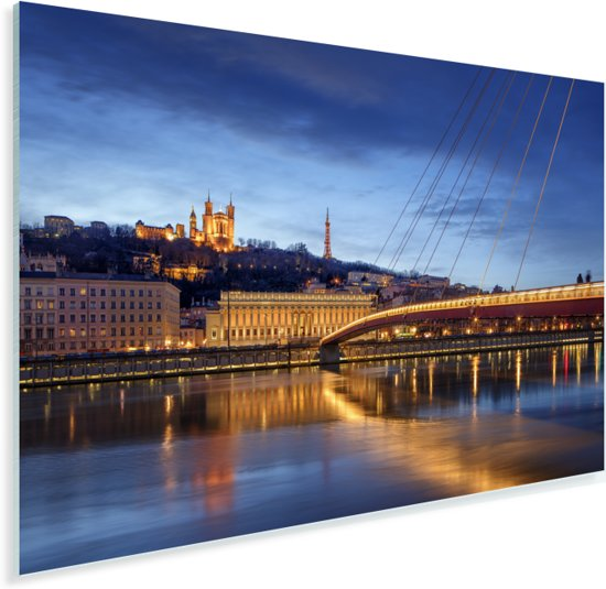Verlichting van de brug in de Franse stad Lyon Plexiglas 30x20 cm - klein - Foto print op Glas (Plexiglas wanddecoratie)