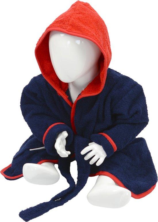 ARTG Babiezz® Baby Badjas met Capuchon Donkerblauw - Rood  - Maat  80-92