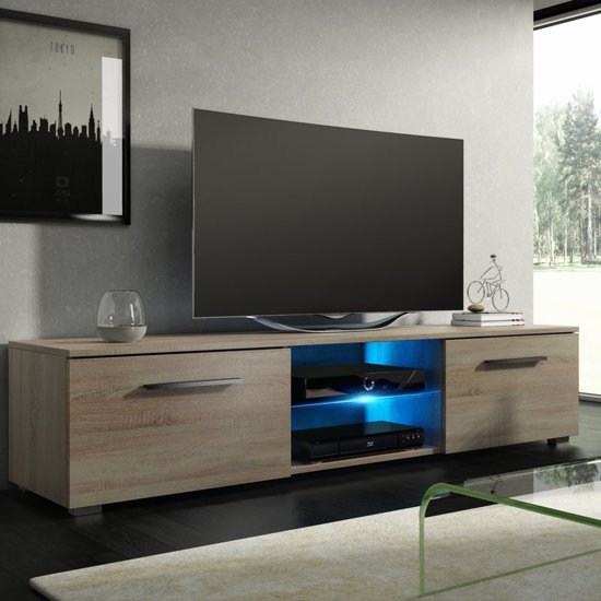 Tv Meubel Eiken Look.Tv Meubel Tv Kast Tenus Incl Led Verlichting Sonoma Eiken