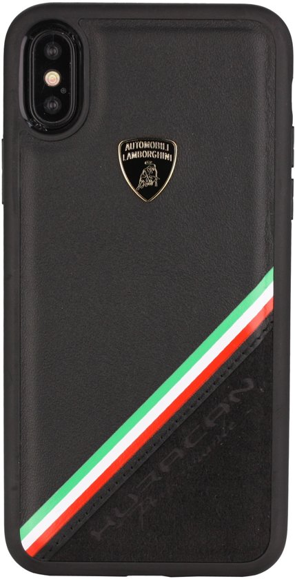 Lamborghini backcover hoesje Alcantara Apple iPhone Xs Max Zwart - Genuine Leather - Echt leer