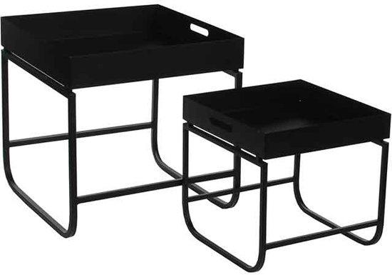 Mica Decorations - tafel zwart set van 2 - grootste maat in cm: 40 x 40,5 x 40