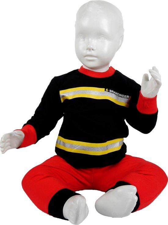 Fun2Wear Brandweer Pyjama Zwart Nieuw uniform maat 128