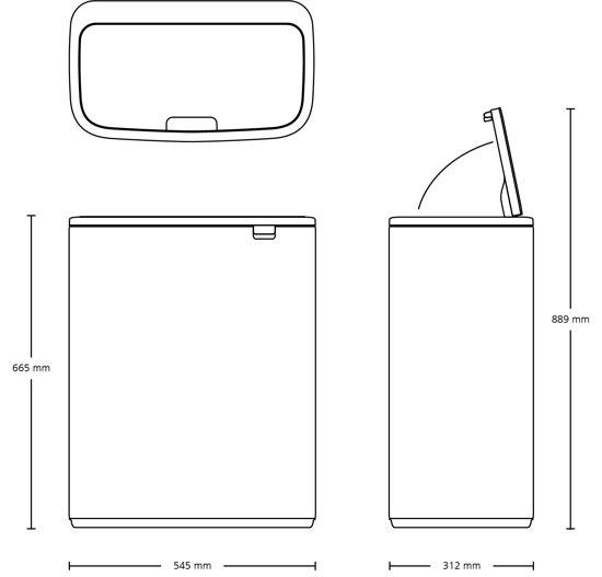 Brabantia Bo Touch Bin 60 Liter Staal Vingerafdruk Proof