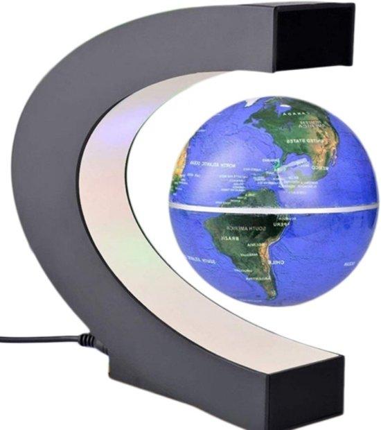 bol.com | Zwevende Wereldbol Blauw ø 8,5 cm in C- frame - Met LED ...