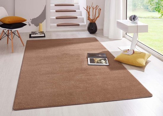Modern effen vloerkleed Fancy - bruin 100x150 cm