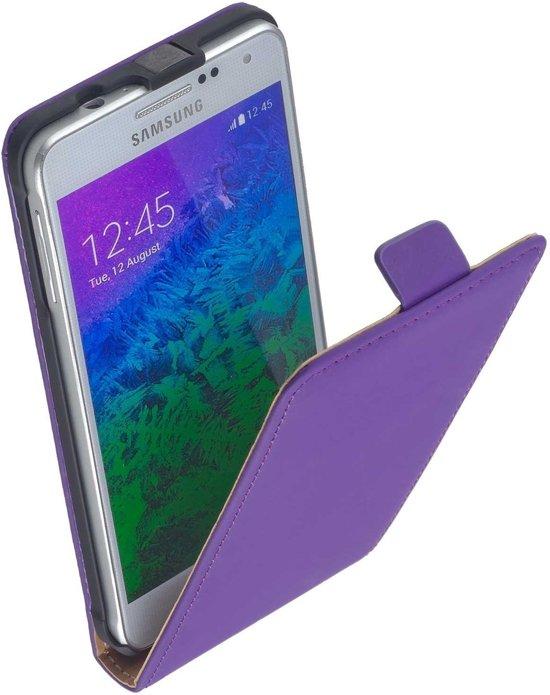 LELYCASE Lederen Samsung Galaxy Alpha SM-G850F Flip Case Cover Hoesje Paars in Steenderen