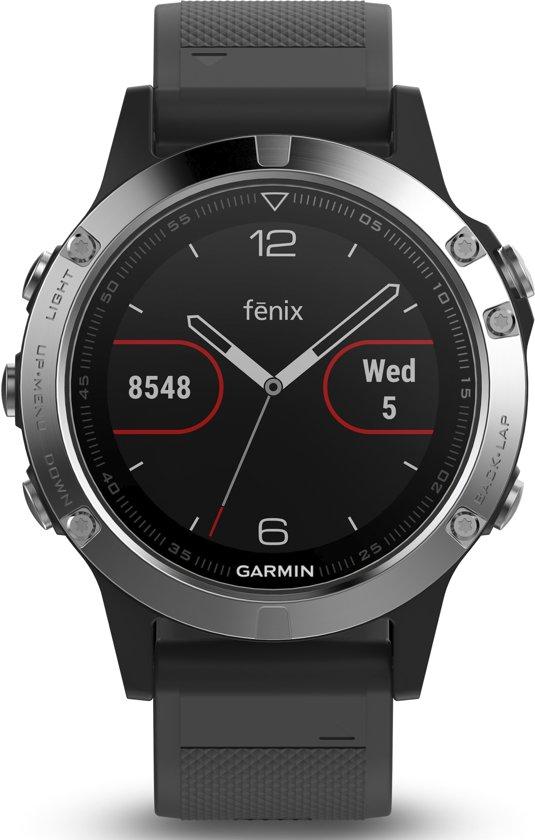 Garmin Fenix 5 - GPS multisport smartwatch met polshartslagmeter - Ø 47 mm - Zwart/ Zilver