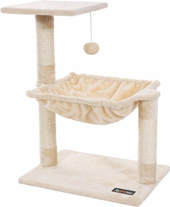 SONGMICS | Luxe Katten Krappaal met Zachte Hangmat | Katten Activity Center met een hangmat | Katten Klim / Krappaal | Hoogte: 70 Cm. | Kleur: BEIGE