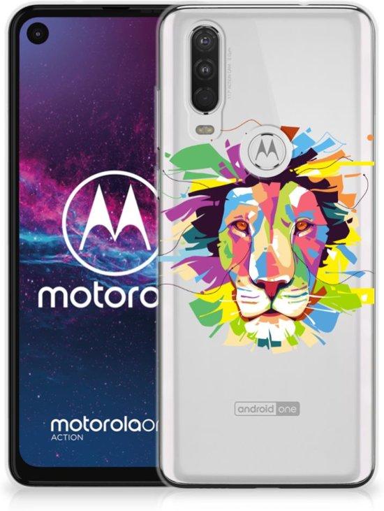 Telefoonhoesje met Naam Motorola One Action Lion Color