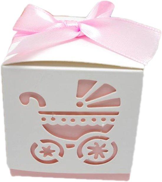 Geschenkdoosjes set van 5 | kinderwagen roze | babyshower | kraamgeschenk | traktatie | doopsuiker