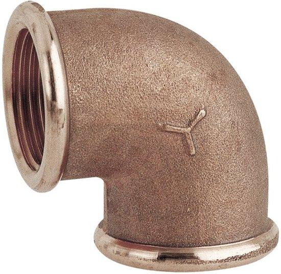 Pijp elleboog 90º (female/female) in brons 1/2 draad (GS30651)