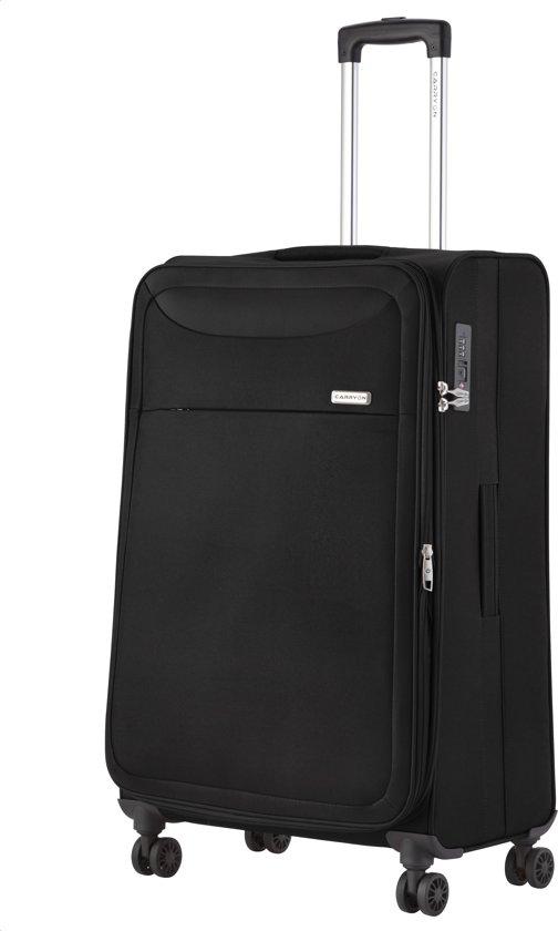 CarryOn Air Zachte reiskoffer 77cm - Trolley met TSA-slot en gevoerde binnenkant - - 5 jaar garantie en anti-diefstal rits - Zwart