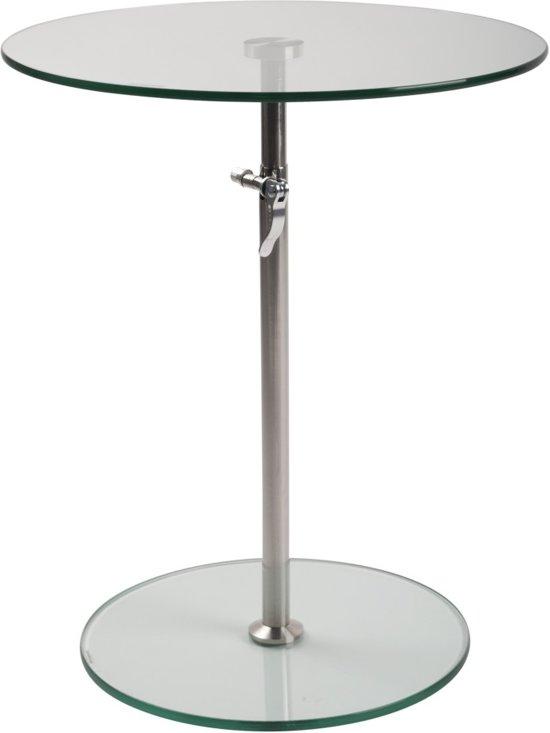 Ronde Glazen Bijzettafeltjes.Bol Com 24designs Verstelbare Bijzettafel Karin Glas