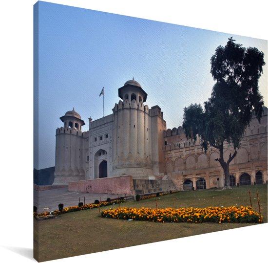 De citadel Lahore Fort in het Aziatische Pakistan Canvas 160x120 cm - Foto print op Canvas schilderij (Wanddecoratie woonkamer / slaapkamer) XXL / Groot formaat!