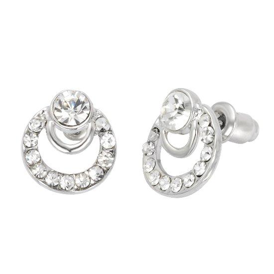 Oorstekers zilver kleur in cirkelvormig design met steentjes