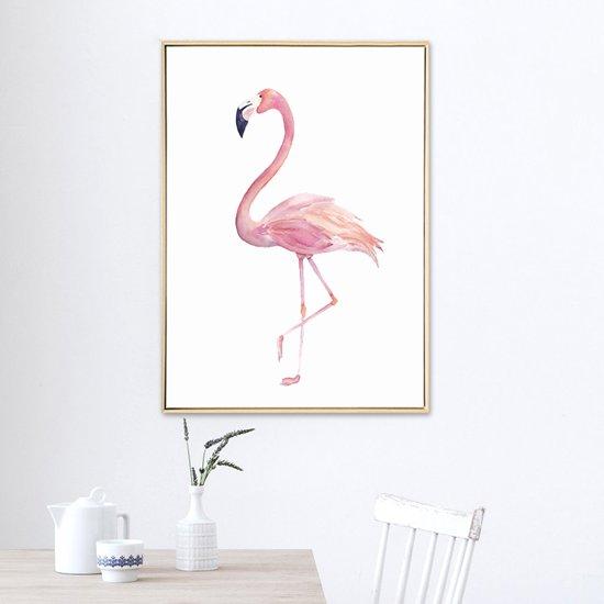 Roze Muurdecoratie Kinderkamer.Bol Com Postercity Design Canvas Poster Roze Flamingo