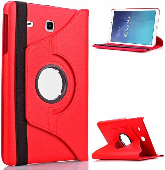 Samsung Galaxy Tab E 9.6 inch SM - T560 / T561 Tablet Case met 360° draaistand cover hoes kleur Rood in Deurningen