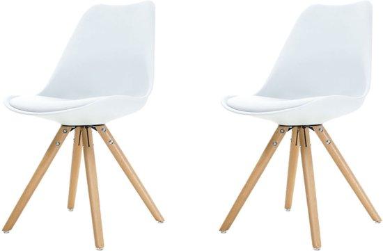 Bol legno stoel witte zitting houten onderstel set van