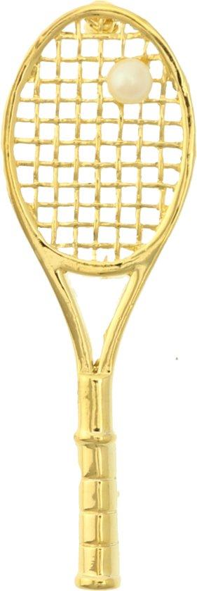 Behave® Broche tennis racket goud kleur met parel 7,5 cm