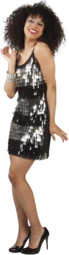 """""""Zwarte en zilver disco outfit voor dames - Verkleedkleding - Medium"""""""