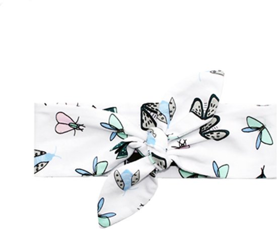 Your Wishes Meisjes Hoofdband Moths - wit - Maat 0-1 jaar