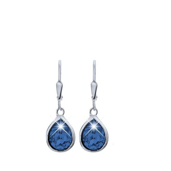 Lucardi - Zilveren oorhangers met Swarovski Crystals montana