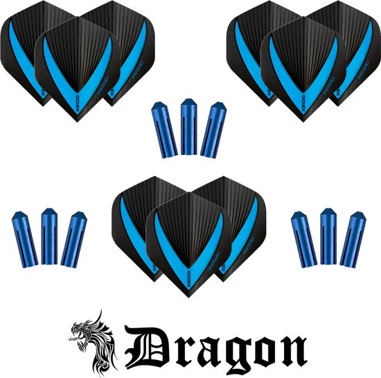 Dragon Darts - 9 stuks Vista-X - darts flights - super stevig - aqua - dartflights - dart flights - inclusief 9 stuks - flight protectors