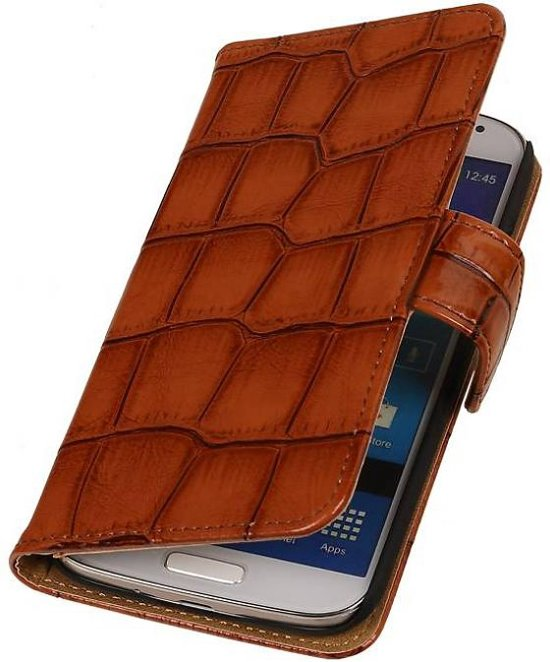 Samsung Galaxy Core II Hoesje Glans Krokodil Bookstyle Bruin
