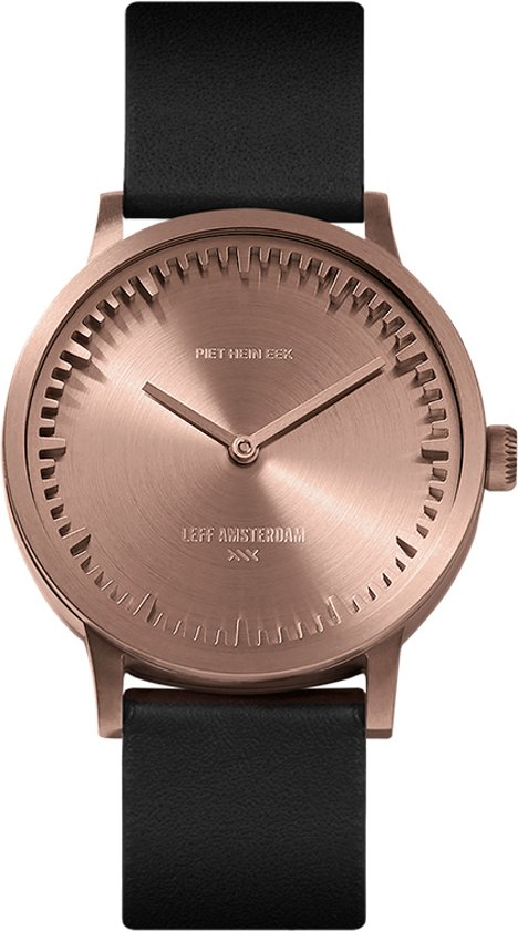 Tube watch T32 rose gold / black leather strap