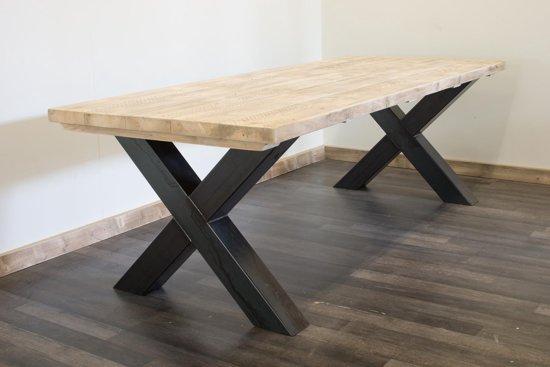 Bol.com stalen kruispoot tafel & 5 cm steigerhouten tafelblad bangor