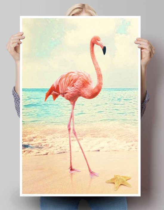 flamingo aan zee poster 61 x 91 5 cm. Black Bedroom Furniture Sets. Home Design Ideas